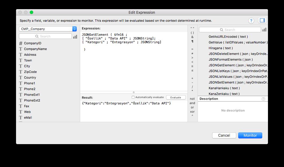Yeni Web Viewer Penceresinde JSON Fonksiyonları