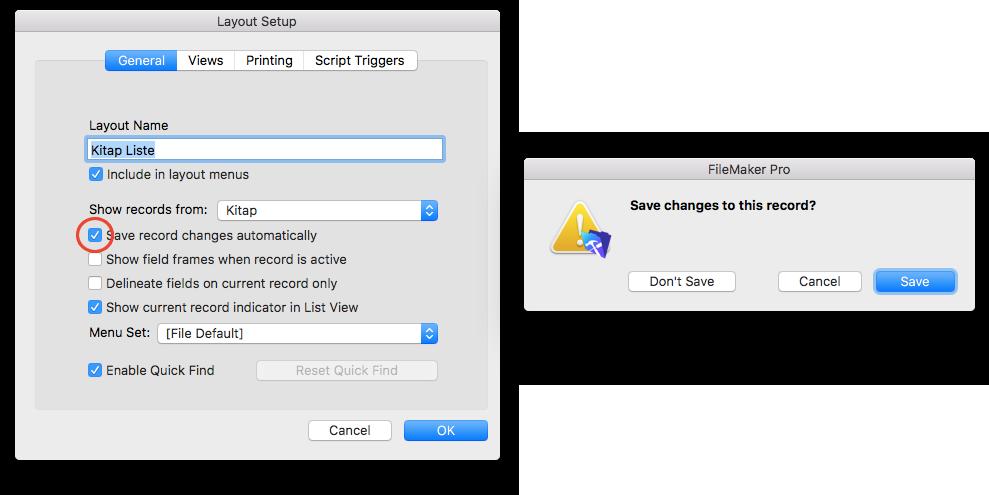 Layout Options Penceresi ile otomatik kaydetme engellenebiliyor